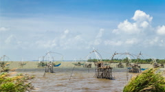 Cloudscape at Pak Pra Fishing Net Stock Footage