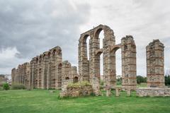 Aqueduct of the Miracles in Merida, Spain, UNESCO Stock Photos