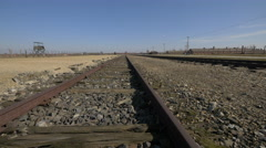 Railways and guard tower at Auschwitz Stock Footage