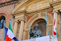 Pope Gregory XIII statue on facade of the Palazzo Comunale in Bologna. Italy Stock Photos