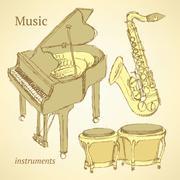 Sketch musical instrument - stock illustration