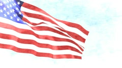 American flag sketch Stock Footage