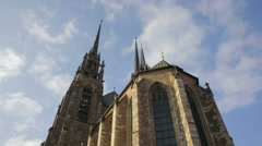 The Cathedral of Saints Peter and Paul (Petrov), town Brno Stock Footage