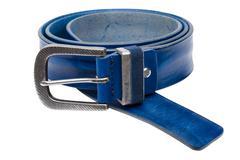 Blue men leather belt isolated on white background Stock Photos