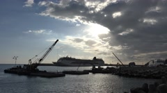 Stock Video Footage of 4k Funchal harbor working platform and cruiseships Madeira