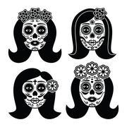 Mexican La Catrina - Day of the Dead girl skull - stock illustration