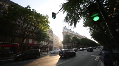 City Scene in Paris with sun - stock footage