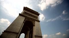 Triumphal Arch in Paris Stock Footage