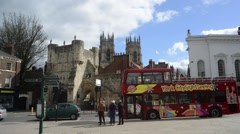 Bootham bar and york minster yorkshire united kingdom Stock Footage