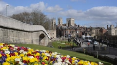 medieval city walls and york minster united kingdom - stock footage