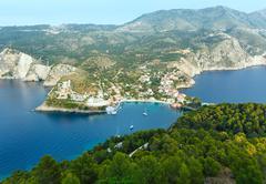 Summer view of Assos peninsula (Greece,  Kefalonia). Stock Photos