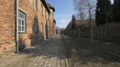 Paved alley at Auschwitz Concentration Camp Stock Footage