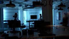 Inside a cable TV studio at night - stock footage