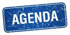 agenda blue square grunge textured isolated stamp - stock illustration