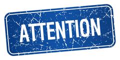 Attention blue square grunge textured isolated stamp Stock Illustration