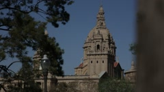 Montjuic Palace through trees Stock Footage