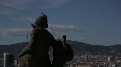 Statues at Montjuic Palace over looking Barcelona Stock Footage