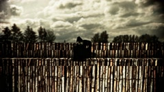 Demon standing on bamboo fence Stock Footage