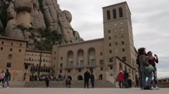 Montserrat Monastery with tourist taking photos Stock Footage