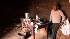 farmer in a farm in the Andes of Peru - stock footage