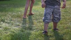 Children playing in the garden Stock Footage