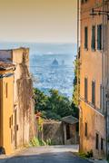 Fiesole street view with panoramic view of Firenze Stock Photos
