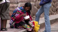 Indigenous woman on a street in Cusco, Peru - stock footage