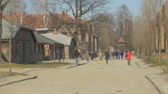 People visiting Auschwitz Memorial Museum Stock Footage