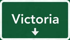Victoria Australia Highway Road Sign Stock Illustration