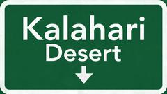 Kalahari Desert Africa Highway Road Sign - stock illustration