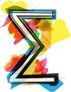 Artistic Sigma Sum sign - stock illustration