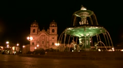 Stock Video Footage of Fountain in Cusco at Night, Peru