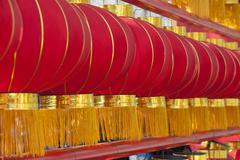 Stock Photo of Rows of red lanterns in outside