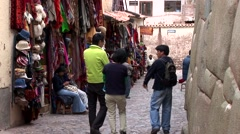 Street in the city of Cusco with Inca Walls, Peru - stock footage