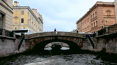 Buildings and bridges in St. Petersburg. Walk to St. Petersburg by boat Stock Footage
