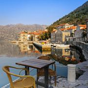 View of the old Perast town from a little cafe,   Montenegro - stock photo