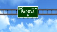 Padova Italy Highway Road Sign Stock Illustration