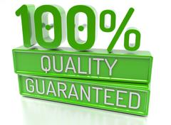 100% Quality Guaranteed, 100 percent, 3d banner - isolated, on white backgrou - stock illustration