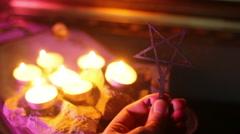 Witch pentagram symbol Stock Footage