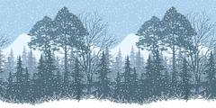 Seamless Winter Woodland Landscape Stock Illustration