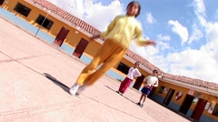 Rope skipping girls on a schoolyard Stock Footage