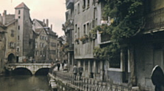 Annecy 1955: people walking in the city Stock Footage