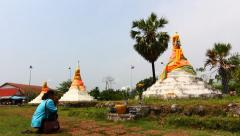 Exterior of the Three Pagodas in Sangklaburi, Thailand. Stock Footage