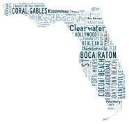 Word Cloud showing cities in Florida Stock Illustration