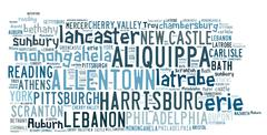 Word cloud with cities in Pennsylvania Piirros