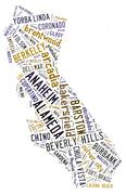 Word Cloud showing cities in California Piirros