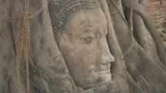 Buddha head at Wat Mahathat in the Ayutthaya Park, Thailand Stock Footage