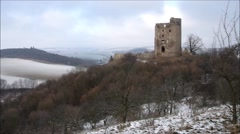 Castle ruin Arnstein in Harz Mountains, timelapse Stock Footage