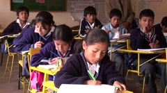 Schoolchildren in a classroom in South America Stock Footage