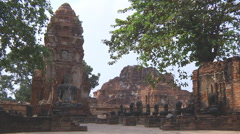 Wat Mahathat at the Ayutthaya Historical Park in Thailand - stock footage